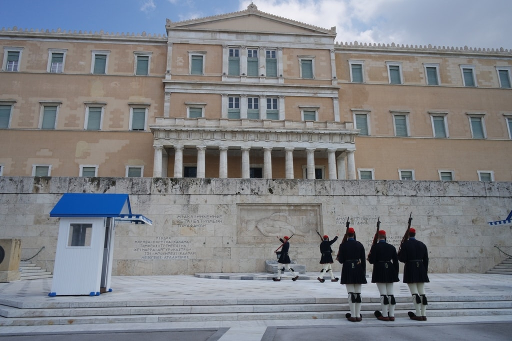 Changing of the guard in front of the Parliament building - 2 days in Athens