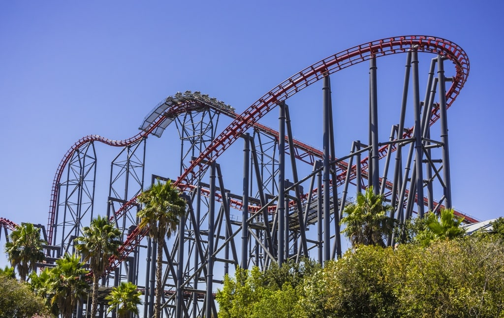 thrill ride in Six Flags - 2 days in LA