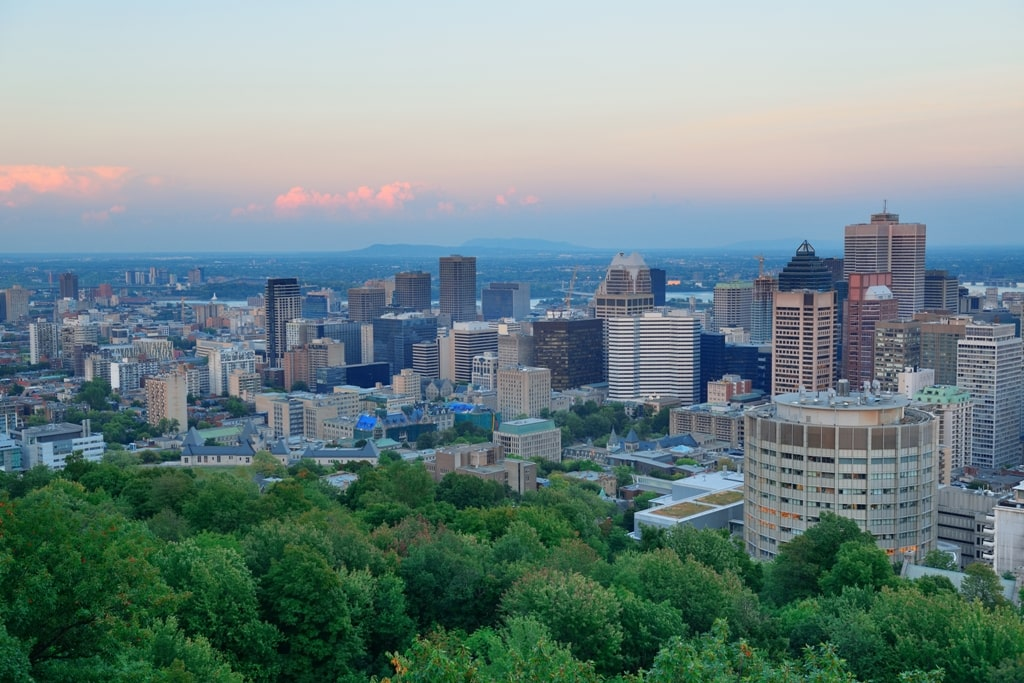 Montreal city skyline at sunset viewed from Mont Royal - Montreal in 2 days