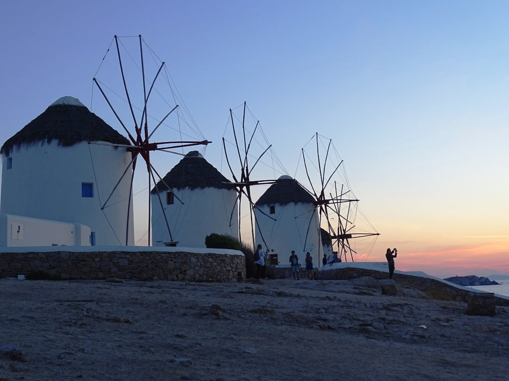 sunset in the windmills in Mykonos
