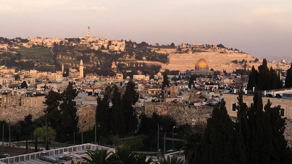 Old city with Mount of Olives on the background