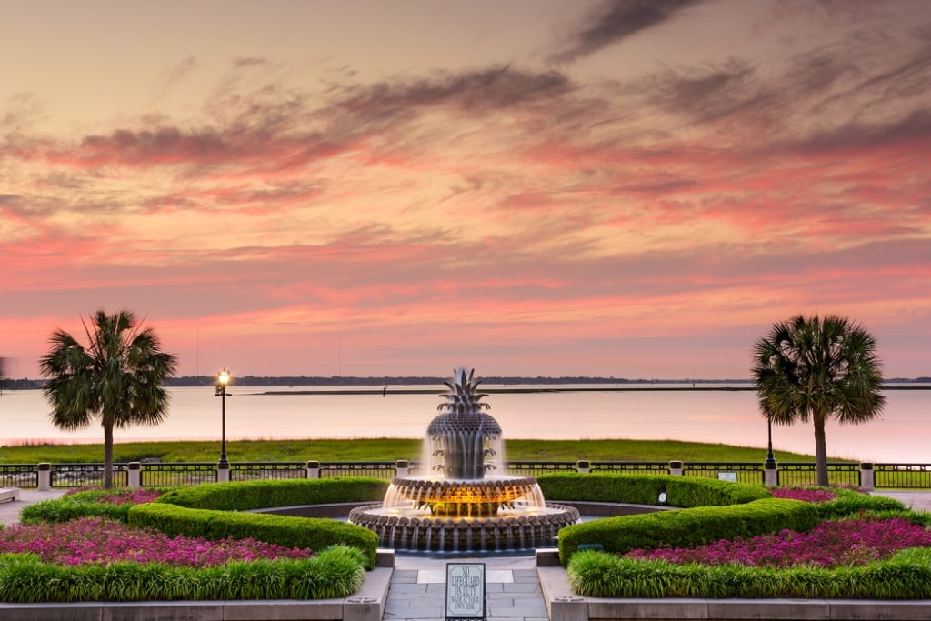 Pineapple Fountain at the Waterfront Park in Charleston